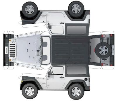 Enlarge onto Cardboard and it is a great template for VBS Jungle Safari Decor!    Paper Jeep Wrangler