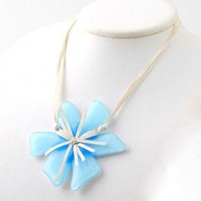 Vetrofuso by Daniela Poletti necklace light blue Hibiscus flower