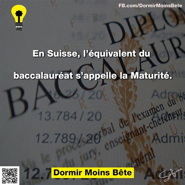 En suisse, l'équivalent du baccalauréat s'appelle la maturité.