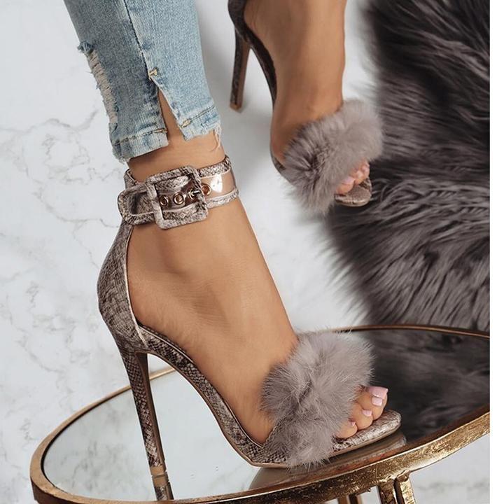 afb35add88bd Ankle Strap Fur Heels in 2019