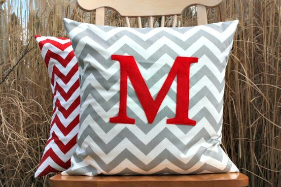 Popular Grey and Red Monogrammed Pillow Cover  by nest2impress, $24.00