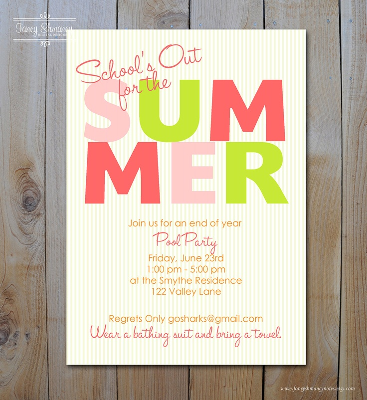 graduation party invitation templates for word%0A Pool Party Invitation