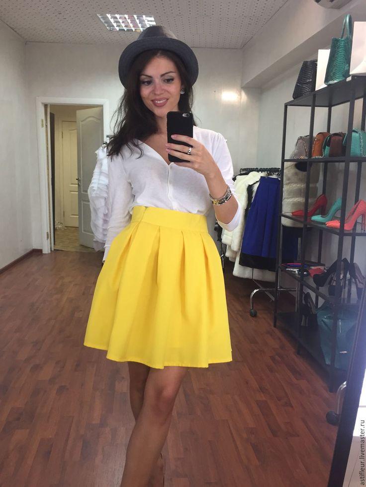 Купить Желтая юбка Миди - однотонный, юбка, юбка желтая, желтая юбка, пышная…