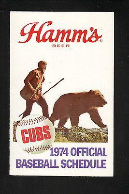 1974 Chicago Cubs Schedule--Hamm's