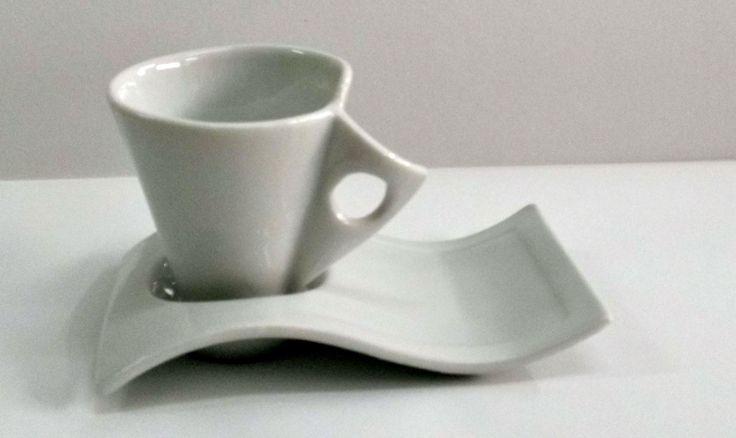 tazza bianca caffè | TAZZINA SINGOLA ONDA DA PER TAZZA CAFFE' CON PIATTINO BIANCO IN ...