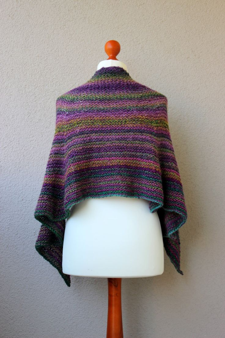 multicolor wool shawl green purple scarf striped shawl autumn scafr winter shawl by OlaKnits on Etsy