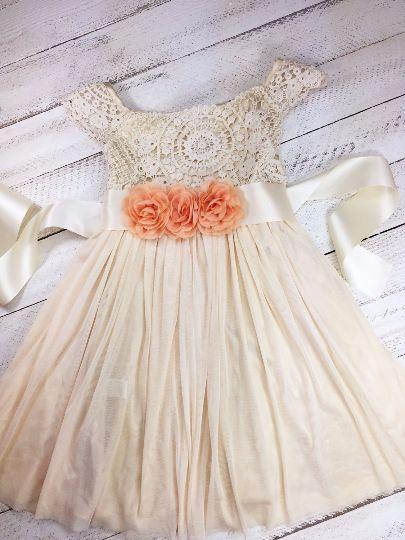 Three Peach Flower - Vintage Cream Crochet Dress - Girl Dress - Toddler Dress - Easter Dress - Photo - Birthday - Lace Dress - Princess