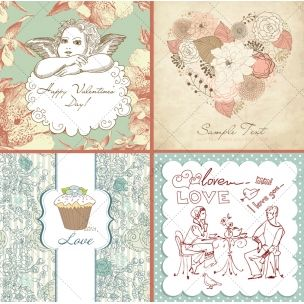 Vintage and retro collection of Valentine vectors - consists of lovely valentine motives as flowers, angels, hearts and many more in soft vintage colours.  http://www.123creative.com/holidays-vectors/826-21-vintage-and-retro-vectors-for-valentine-s-day.html