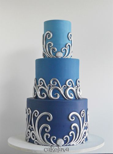 silver waves on ombre blue wedding cake by Rick Reichart, cakelava (scheduled via http://www.tailwindapp.com?utm_source=pinterest&utm_medium=twpin&utm_content=post7345232&utm_campaign=scheduler_attribution)