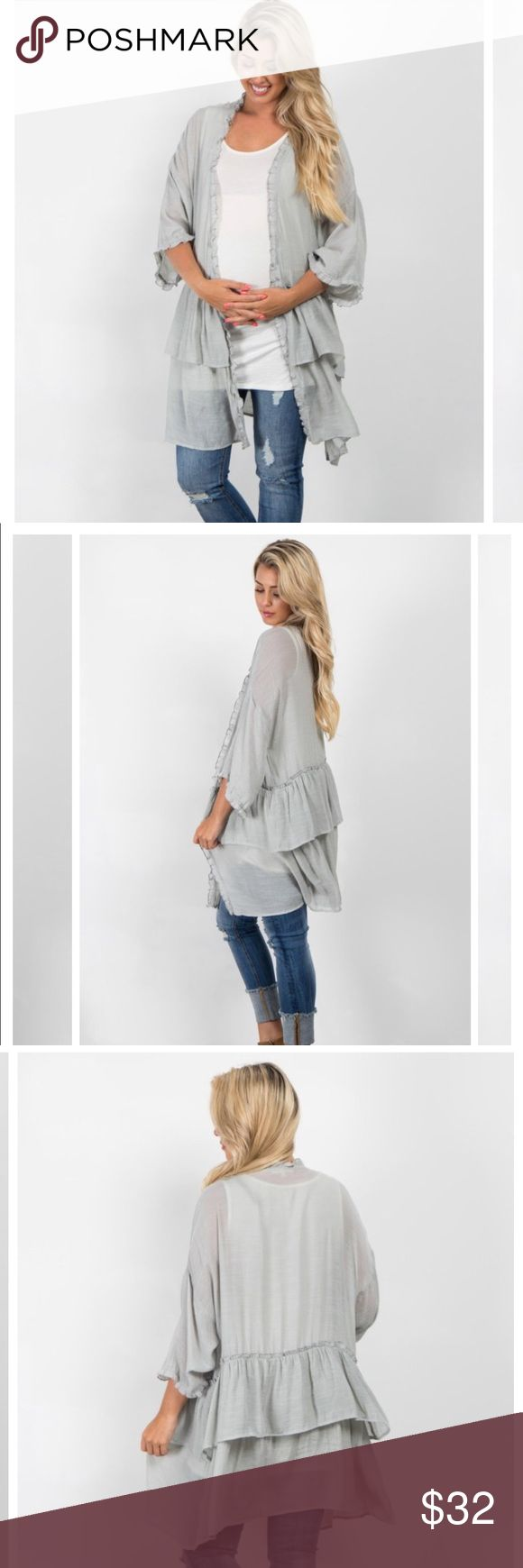 Light Grey Solid Ruffled  Kimono The perfect layering piece! This pretty kimono has everything, with its feminine ruffles and light material, it's both comfortable and stylish. Style with a basic maternity cami and jeans for a casual look. Pinkblush Sweaters Cardigans