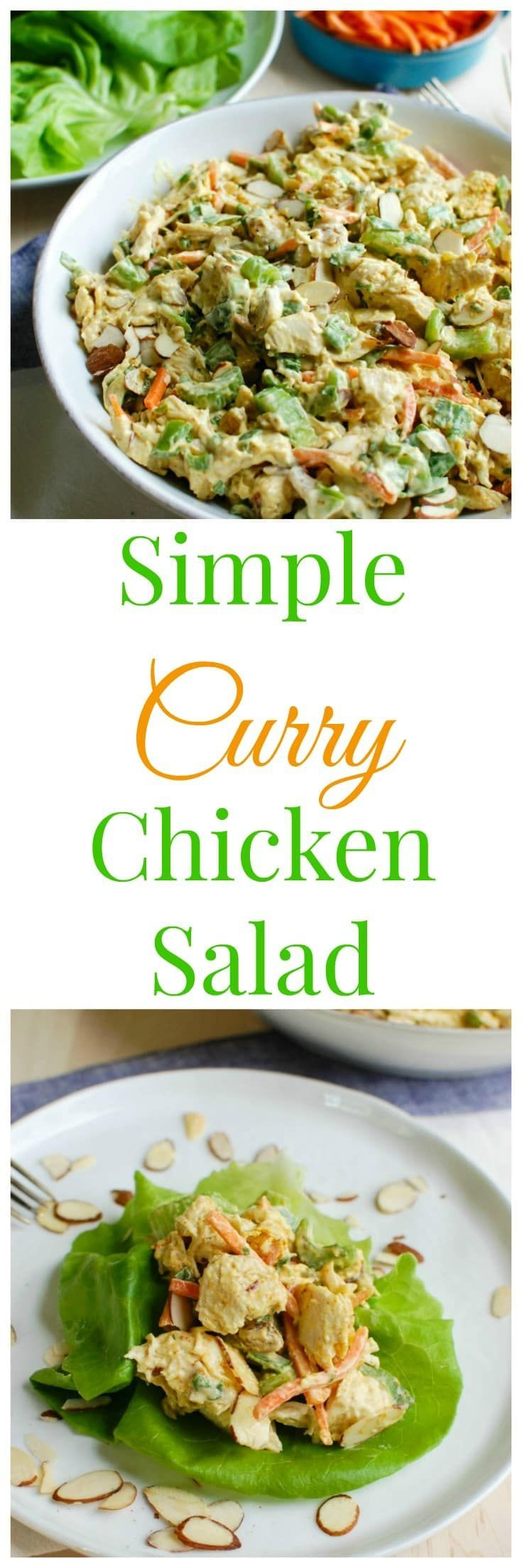 Simple Curry Chicken Salad is a lightened up version of classic chicken salad with rich, warm curry added in. Shredded chicken is mixed together with Greek yogurt, mayonnaise, honey and curry and then combined with golden raisins, shredded carrots, chopped celery, fresh green onion and parsley.  This is a nice option for a picnic, weekly lunches or a shower or brunch!// A Cedar Spoon
