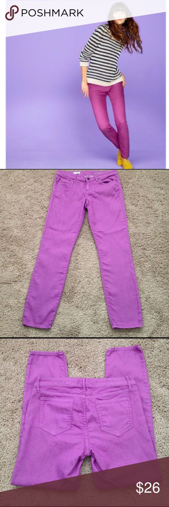 """Gap Skinny Jeans Gap 1969 Always Skinny Jeans in a pretty purple color, """"neon violet"""". These are 70% cotton, 29% polyester, 1% spandex. Measurements are waist laying flat 16"""" across, Rise 8"""", Inseam 28"""" inches. Size tag 28/6r. Washed once, never worn. Great condition!!💜 GAP Jeans Skinny"""