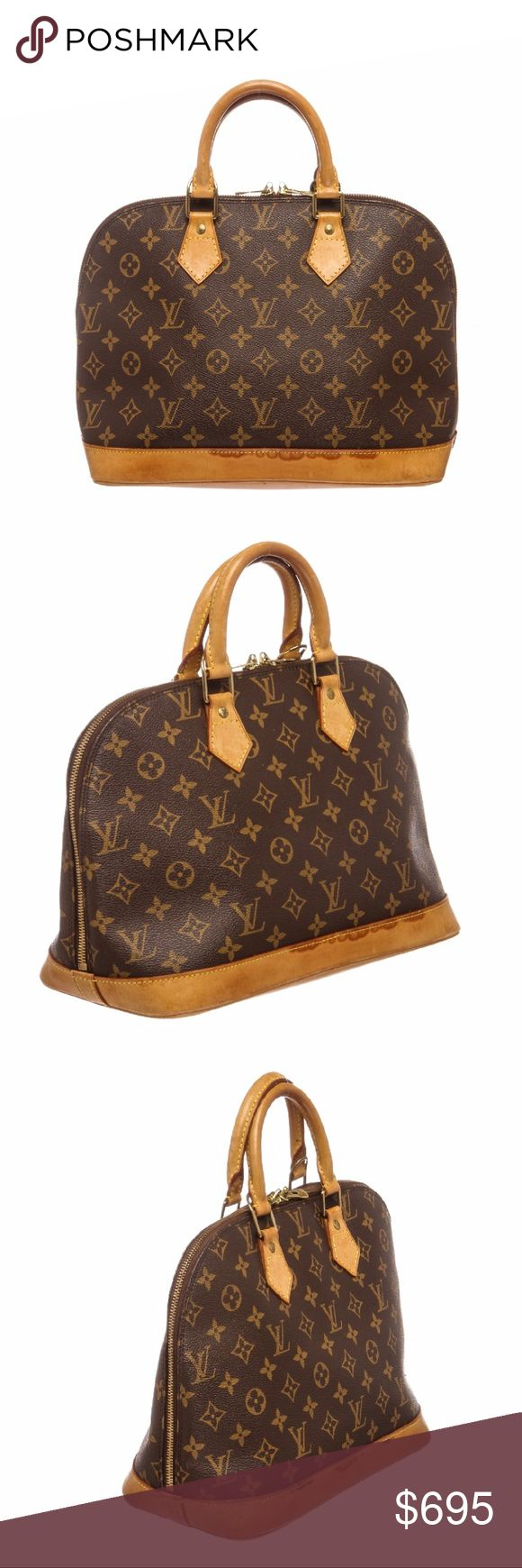 Louis Vuitton Canvas Leather Alma PM Handbag Brown and tan monogram coated canvas Louis Vuitton Alma PM with brass hardware, tan vachetta leather trim, dual rolled top handles, brown canvas lining, single pocket at interior wall and zip closure at top. Shop AUTHENTIC Louis Vuitton handbags at MARQUE SUPPLY COMPANY.   3688MSC Louis Vuitton Bags Satchels