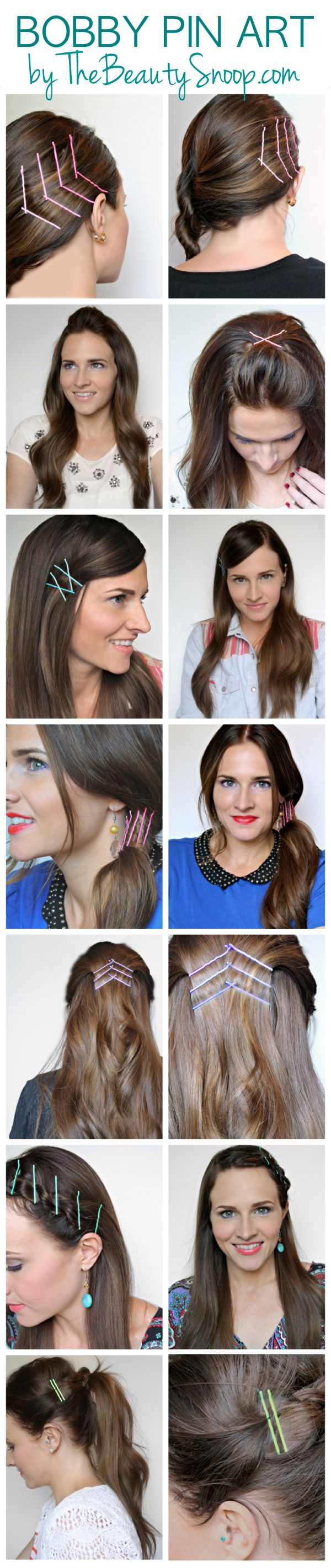 Bobby Pin Art- unique and super cute ways to wear your hair style, using the ombre pins from Sephora. Must try these! #hairideas