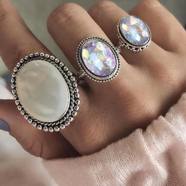 Hot Vintage Bohemian Rings Set Gemstone Knuckle Rings Midi Rings