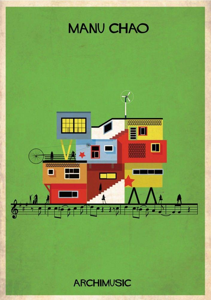 "ARCHIMUSIC: Illustrations Turn Music Into Architecture - Federico Babina / Manu Chao, ""Me gustas Tu/ Desaparecido"""