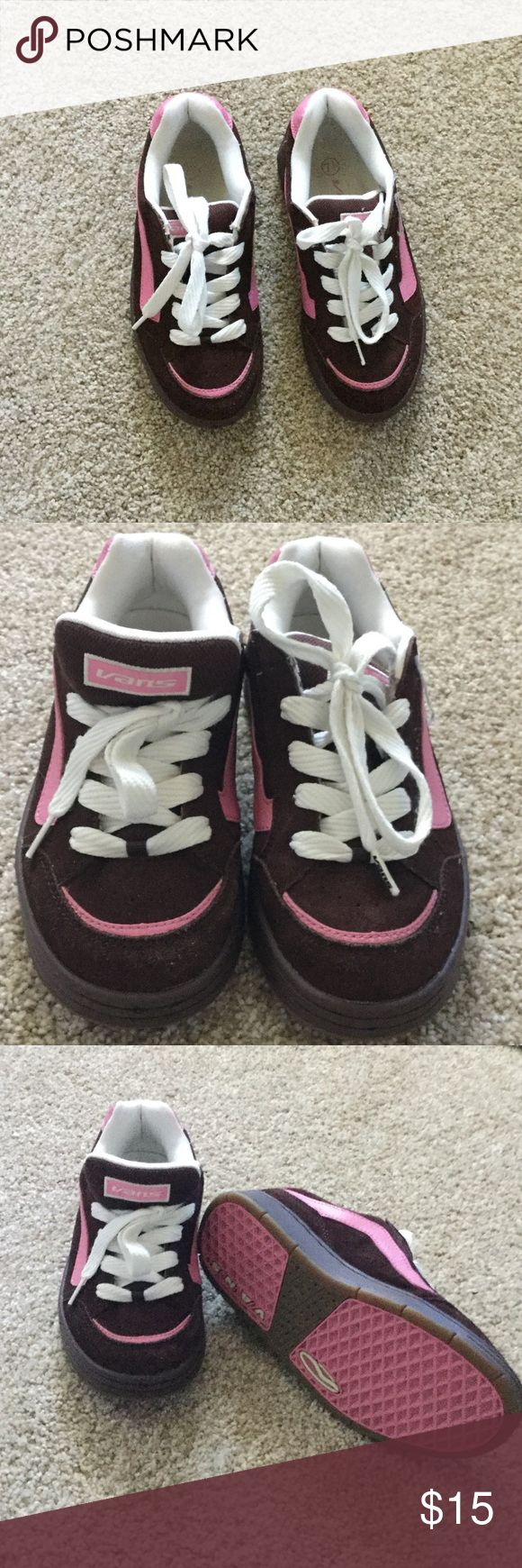 Vans shoes Super cute pink and brown Vans, they are a 7 1/2 but fit more like a7. In perfect condition Vans Shoes Sneakers