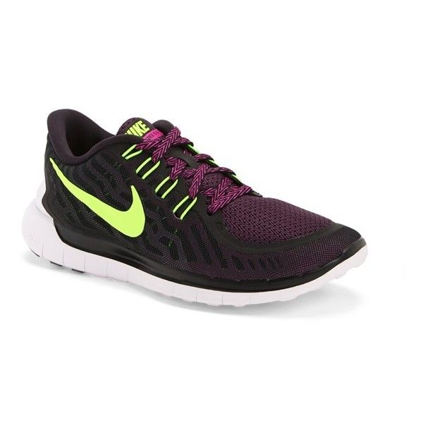 Nike 'Free 5.0' Running Shoe ($70) ❤ liked on Polyvore featuring shoes, athletic shoes, lightweight athletic shoes, nike, neon running shoes, low heel shoes and neon shoes