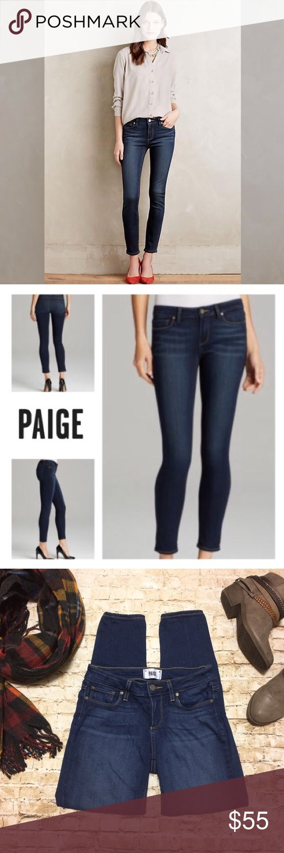 "⚡️Flash Sale! Paige Verdugo Ankle Skinny Jeans Gorgeous Paige Jeans in excellent condition. Super stretchy, low rise fit, skinny leg & slightly cropped length. Perfect year around: w/ tall boots & a sweater in cold weather, flats & a tank in summer. Waist 13.5"" across unstretched (but can definitely stretch bigger). Inseam 27"". Small Paige leather logo on hip. Purposeful whiskering on front & back of seat area. Amazingly comfortable, fit almost like jeggings! Purchase at Anthro. ⚡️Flash Sale…"