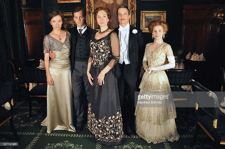 Julia Koschitz, Florian Stetter, Ursula Strauss, Laurence Rupp and Josefine Preuss (L-R) pose during a photo call for the film 'Sacher' at Hotel Sacher on May 3, 2016 in Vienna, Austria.