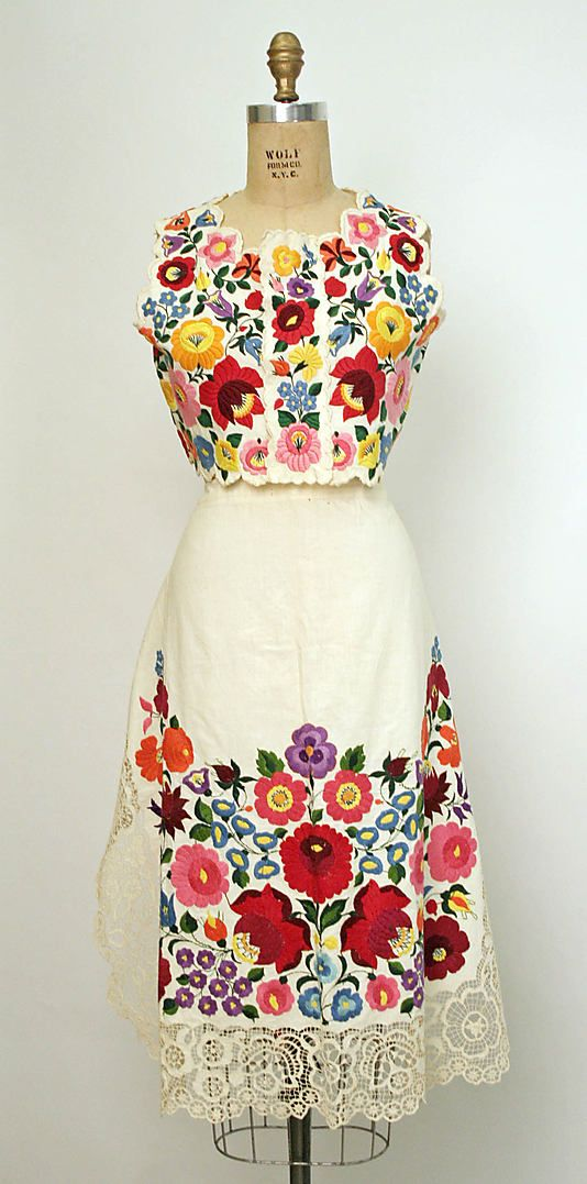 Hungarian embroidered ensemble.  Hungary has amazing embroidery, love it!