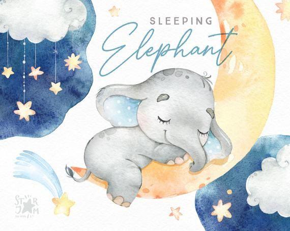 Sleeping Elephant Babyboy Watercolor Little Animal Clipart Etsy Animal Clipart Cute Illustration Clip Art