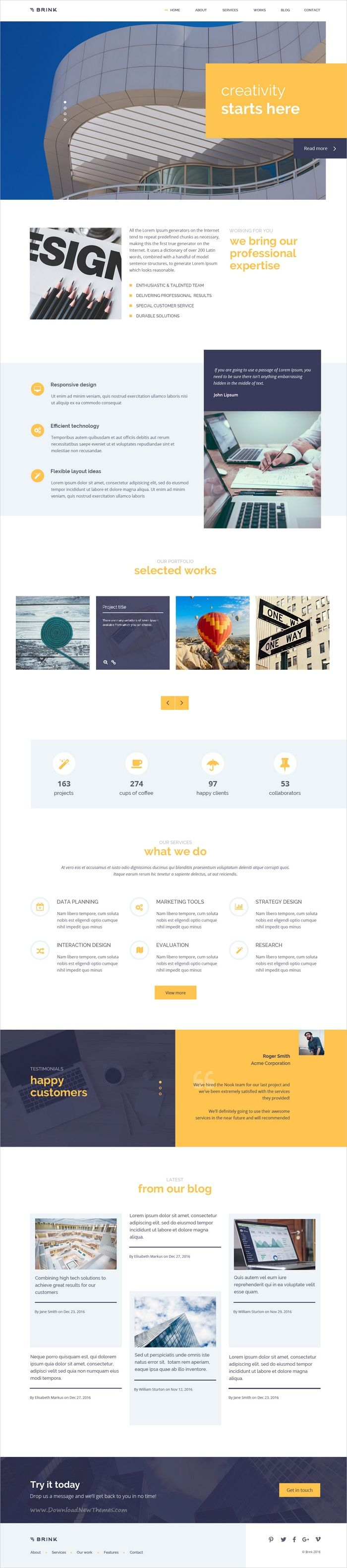 Brink is a creative and fresh #business #Photoshop template for #webde corporate or marketing and finance websites with 4 homepage variations and 18+ organized PSD files download now➩ https://themeforest.net/item/brink-creative-business-psd-template/19343455?ref=Datasata