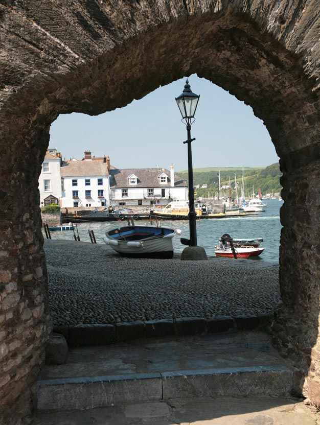 ~Bayard's Cove - Dartmouth, Devon, UK~ Looking out of the Fort onto the wharfside of Bayard's Cove in Dartmouth and to the River Dart, Banyard's Cove is Dartmouth's original wharf and is where the Pilgrim Fathers rested on their way to America in 1620