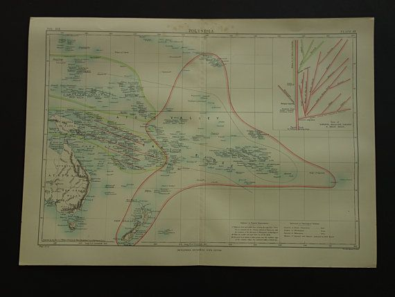 Old map of Polynesia 1885 original antique map by DecorativePrints