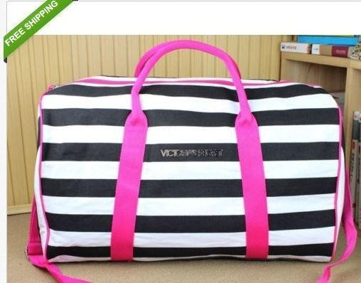 Victoria's Secret Stripe Getaway Weekend Travel Gym Tote Duffle Bag Defect  #victoriasecret