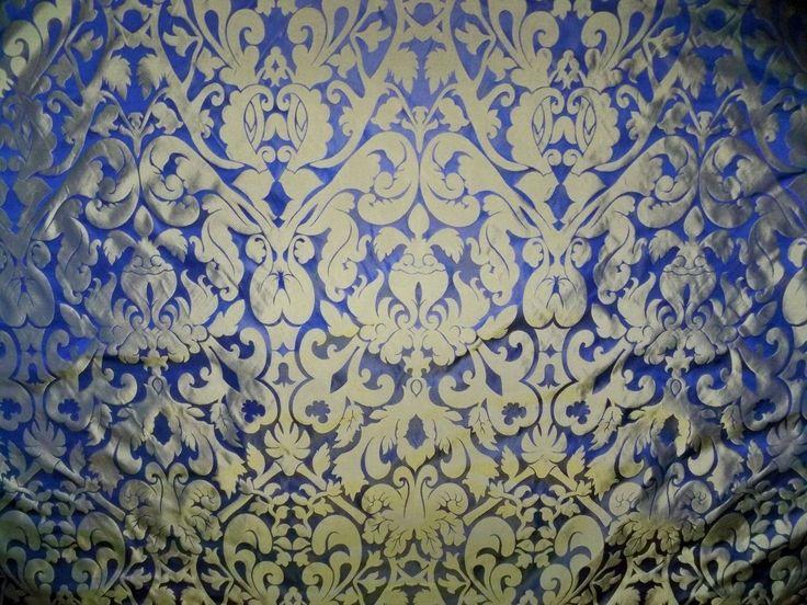 SILK LOOM INC MARSEILLE SILK DAMASK FABRIC 10 YARDS BRASS NILE BLUE | eBay