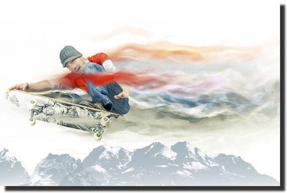 Skateboard Rider  Teenagers Room  Canvas by AustralianHousePlans