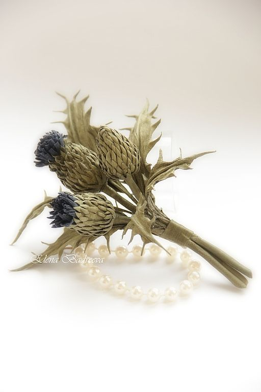 """Brooch made of leather """"Sprig thistle"""" by Elena Badreeva"""