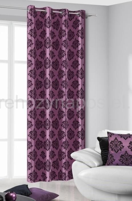 Hotový závěs na okna fialové barvy s francouzským vzorem