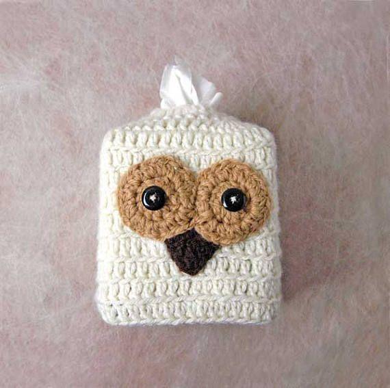Owl Tissue Box Cover Crochet Woodland Bird Decorative by NutmegCottage on Etsy
