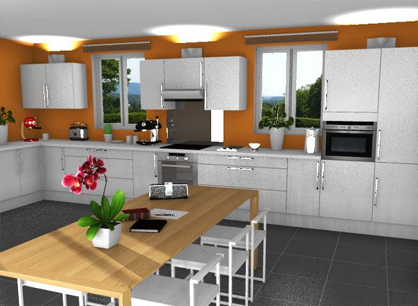Orange Kitchen Kitchen Rendering With Free Home Design Software New Free Software Kitchen Design Inspiration Design
