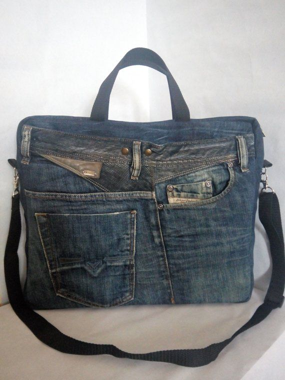 Laptop bag from recycled jeans Rigid shape and many pockets Trend 2019 – Ljubov Freundlich