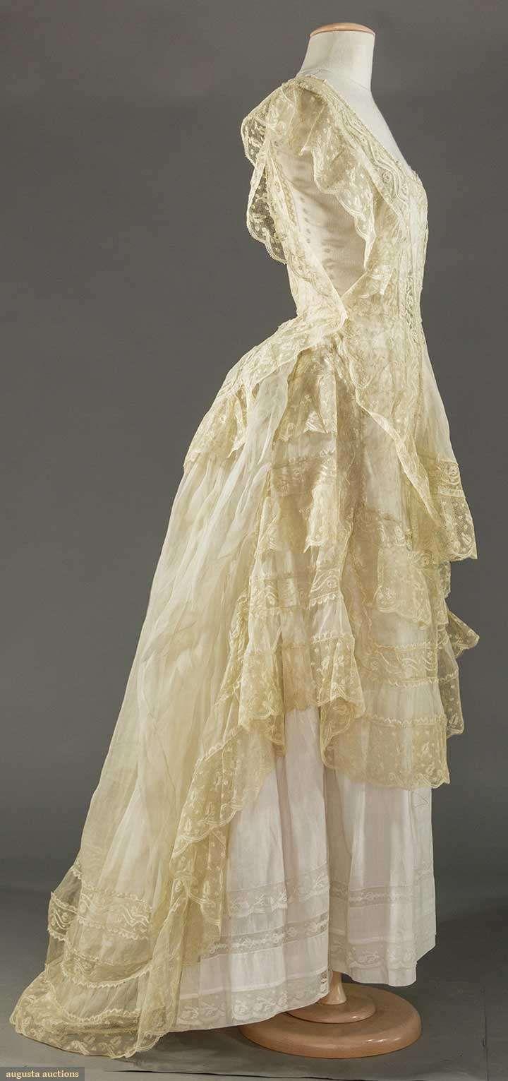 ORGANDY & LACE DRESS PARTS, 1860-1870