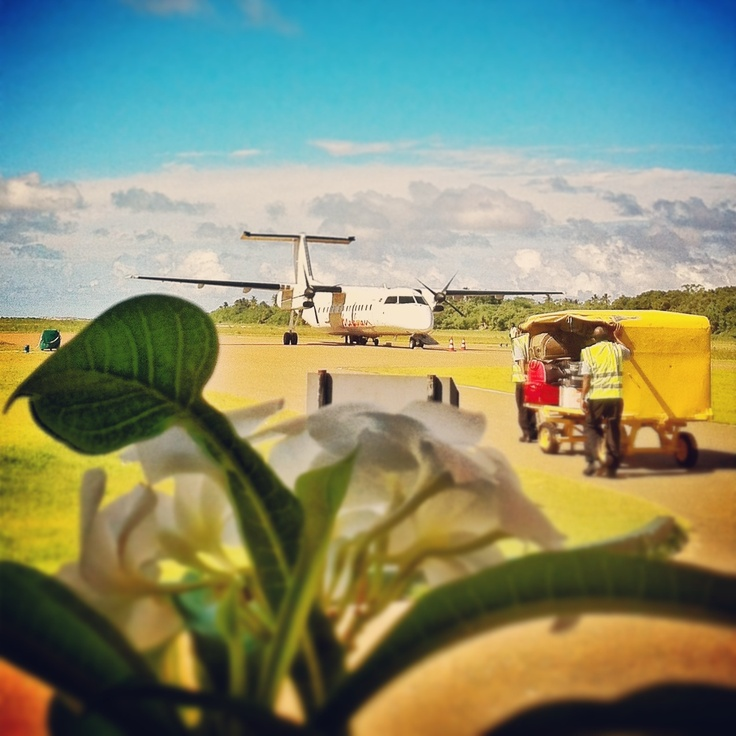 Welcome to Kaadedhdhoo Airport, Maldives... Dash-8 300 Series operated by Maldivian