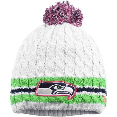 Women's Seattle Seahawks New Era White 2014 Breast Cancer Awareness On Field Knit Hat With Pom