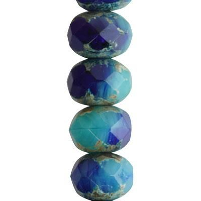 9x6mm Royal Blue and Turquoise Opaque Mix with Picasso Finish Rondelle Czech Glass Beads