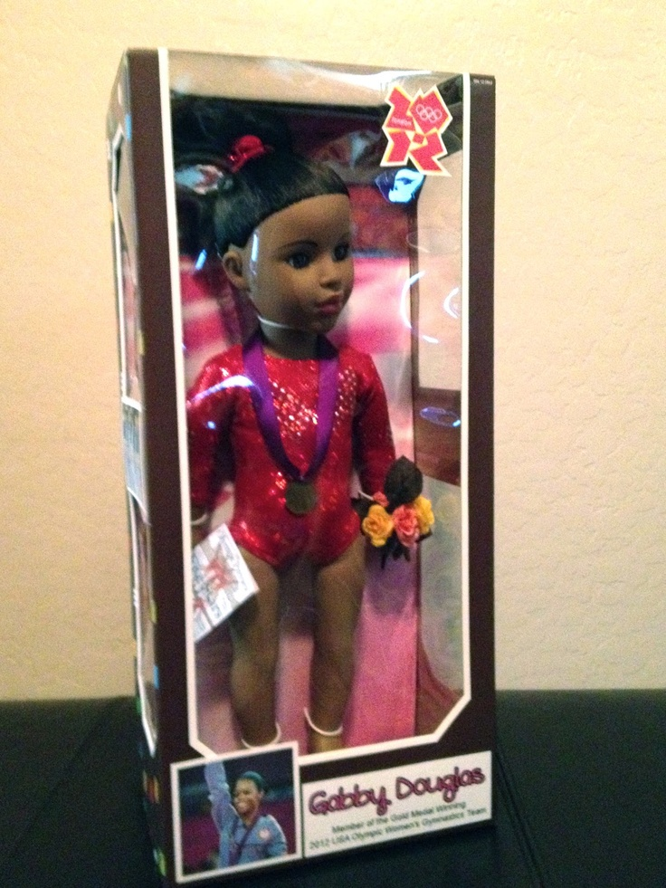 Heather & Jon: Fab Five 2012 Olympic Gymnastics Gold Medal Winning Team  Madame Alexander doll designed to look like Gabby Douglas from the Fierce Five - Just made 1 of each for out gym - but we think a doll company should make them - they would sell!