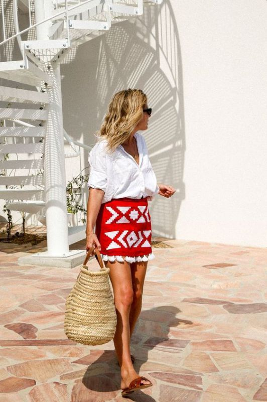 21e29b2b8f This is one of the cute vacation outfits ideal for street style. #miniskirt  #whitetop #sandals #strawbag