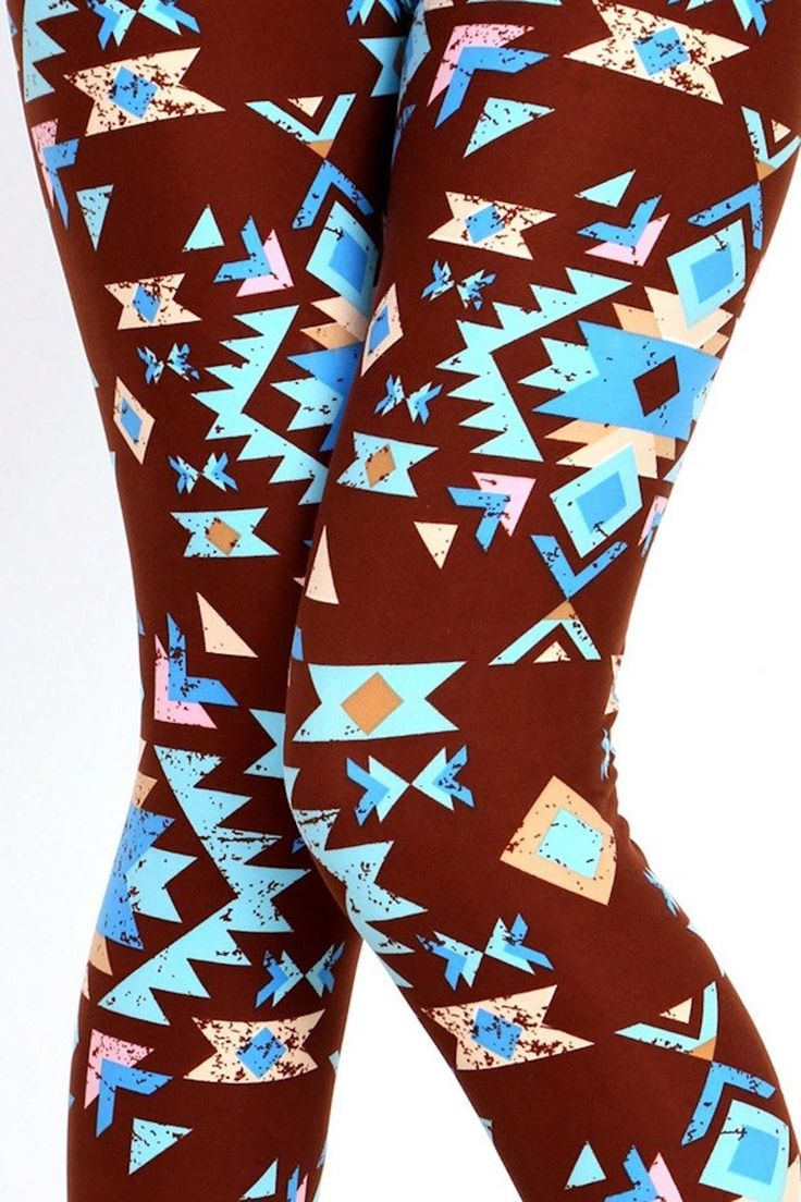 Brown and Blue aztec print legging. Perfect for any occasion dress them up with some pumps  or for everyday casual look. Astec Print Leggings by New Mix. Clothing - Bottoms - Pants & Leggings Pennsylvania