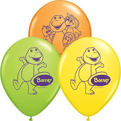 "10 pc 11"" Barney the Dinosaur Party Latex Balloons Birthday 1st Baby Shower PBS"