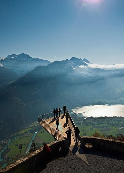 "the ""two-lakes-bridge"" is the new touristical attraction above Interlaken/Switzerland"