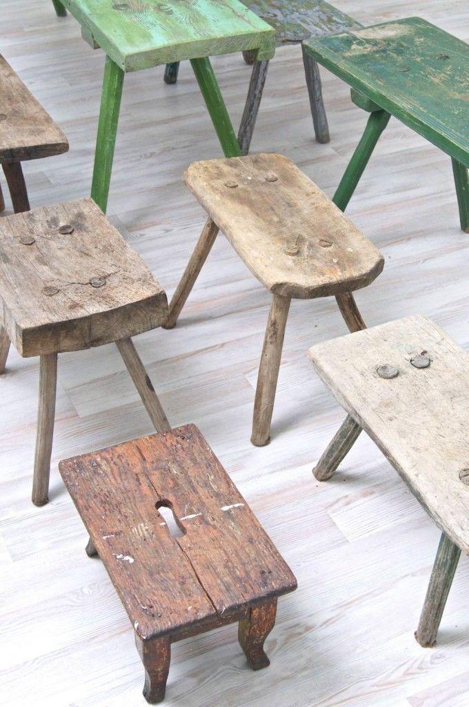 Holzbänke, Holzschemel, wooden benches