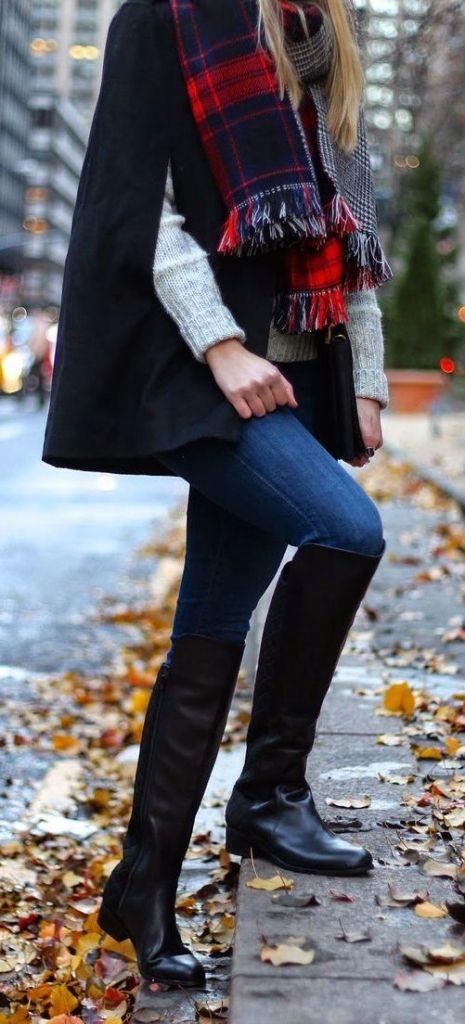 #fall #fashion casual / tartan scarf + knit layers