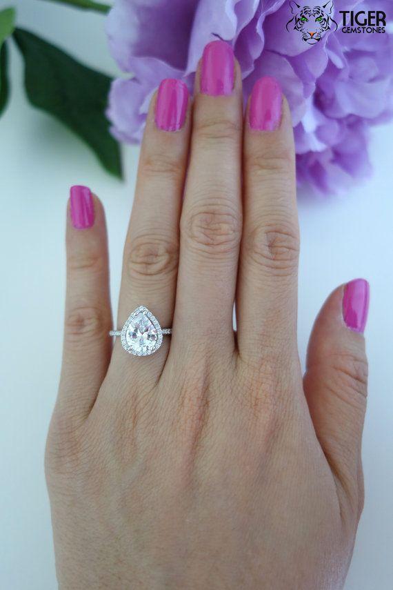 2.5 Carat Pear Cut Halo Engagement Ring Vintage by TigerGemstones