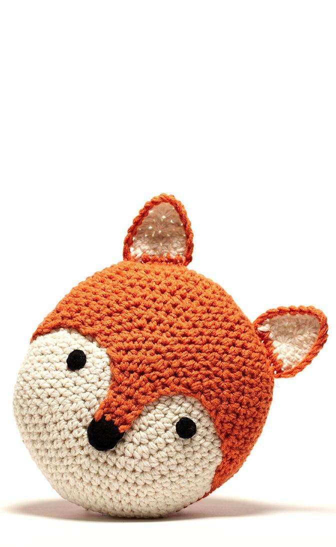 Fox Crochet Round Pillow So Cute Home Decor